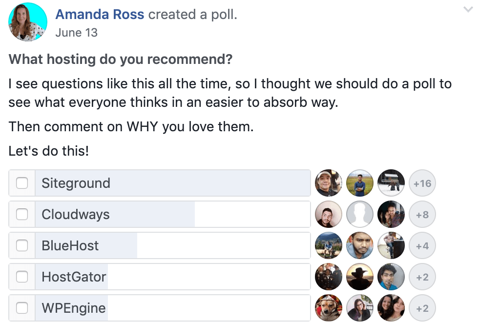 Amanda facebook poll results siteground review