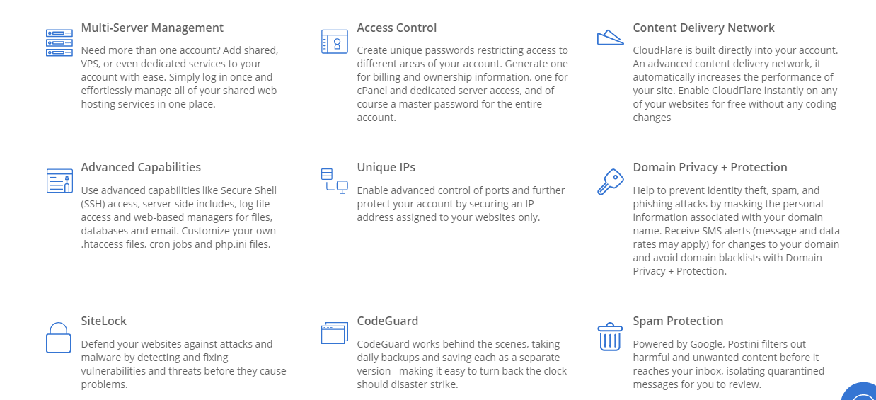 bluehost shared hosting plan features